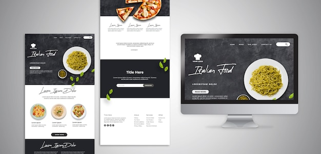 Web template with landing page for traditional italian food restaurant