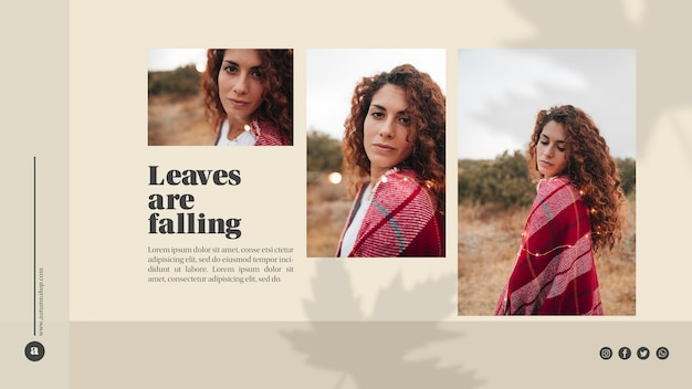 Web template with leaves and beautiful woman