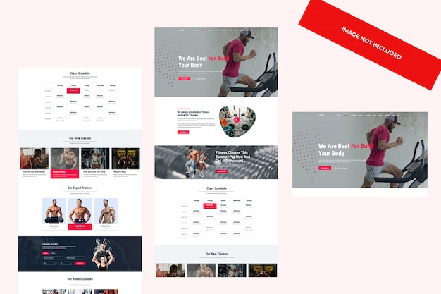 Web theme design, psd template. fitness and gym concept.