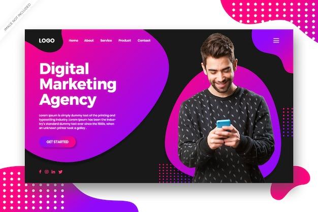 デジタルマーケティングのランディングページのwebテンプレート