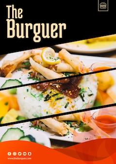 ハンバーガーのコンセプトを持つwebモックアップ