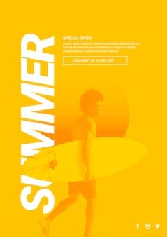 夏のコンセプトを持つwebバナーのテンプレート