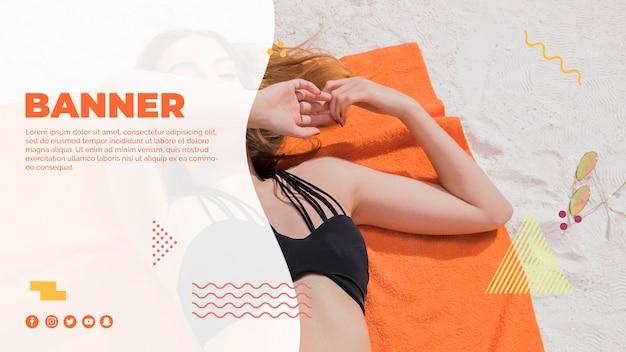 夏のコンセプトとメンフィススタイルのwebバナーテンプレート