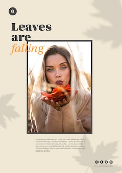 オレンジの葉を保持している女性と水平のwebテンプレート