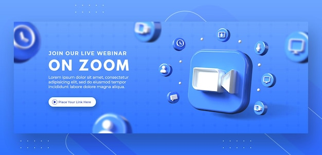 Webinar page promotion with 3d render zoom logo for facebook cover template
