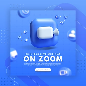 Webinar page promotion with 3d render zoom logo for instagram post template
