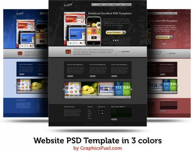 Website psd template in  colors