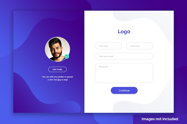 Website signup page template