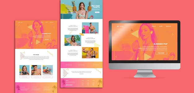 Website templates in memphis style with summer concept