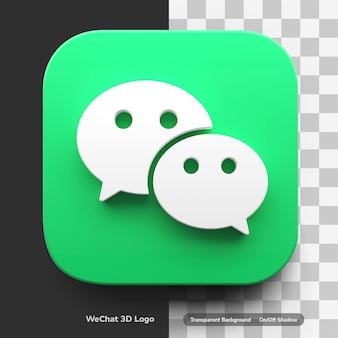 Wechat 앱 3d 렌더링 로고가 둥근 모서리 사각형 디자인 자산 절연