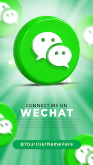 Wechat glossy logo and social media icons story
