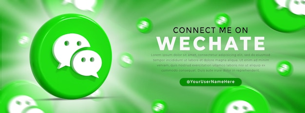Wechat glossy logo and social media icons web banner