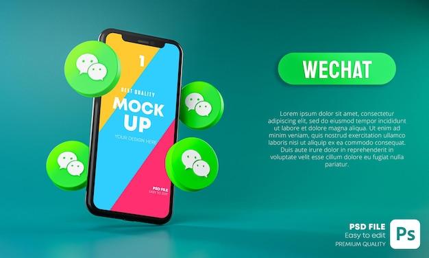 スマートフォンアプリのモックアップ3dの周りのwechatアイコン