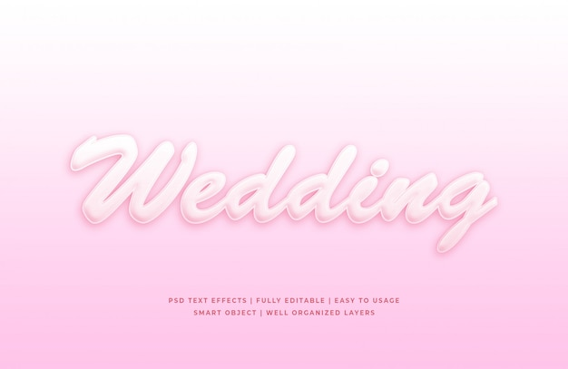 Wedding 3d text style effect mockup
