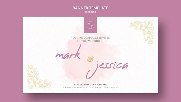 Wedding banner template mock-up