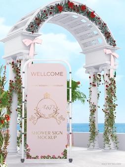 結婚式のブライダルバナーのモックアップ