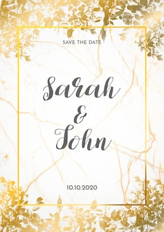 Wedding card invitation with golden leaves
