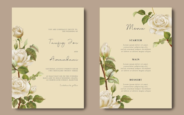 Wedding card template and menu card with white rose flower