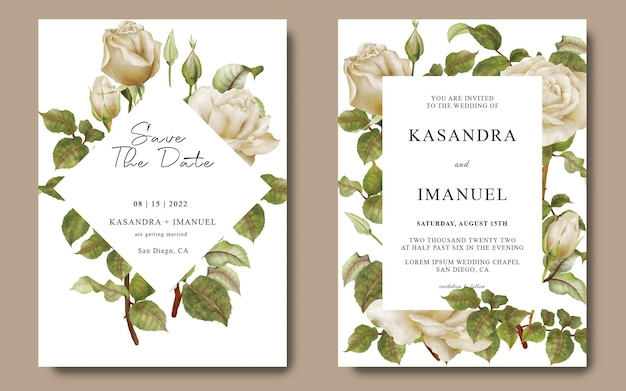 白いバラの花とウェディングカードテンプレート