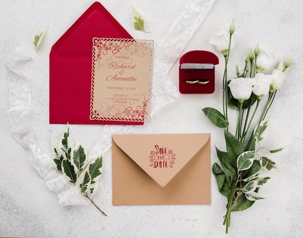 Concetto di matrimonio mock-up con fiori