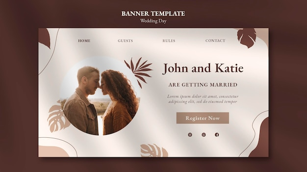 Modello di banner per il giorno del matrimonio