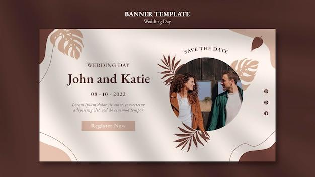 Banner orizzontale del giorno del matrimonio