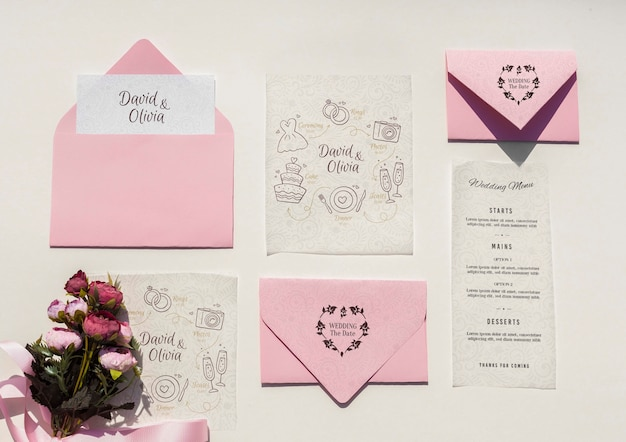 Wedding decoration in pink tones with envelope collection