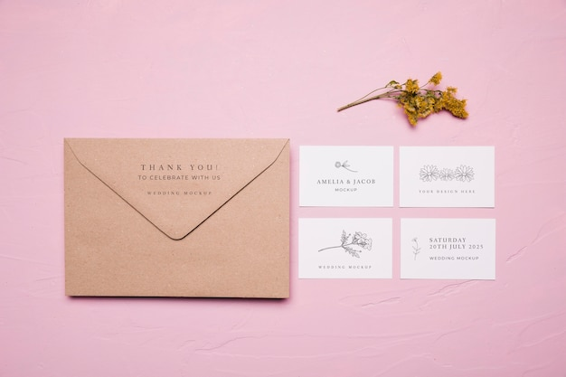 Wedding envelope design mock-up