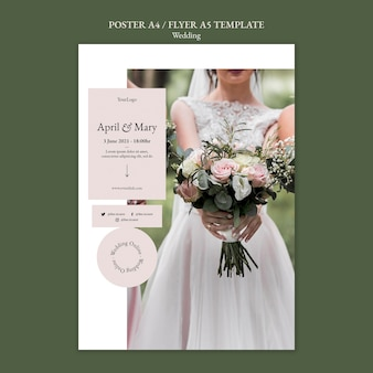 Wedding event with bride poster template