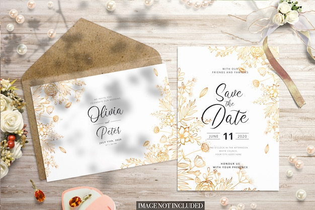 Wedding flat lay with envelope and card mockup