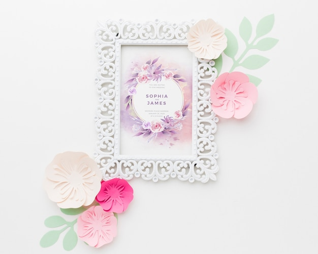 Wedding frame mock-up with paper flowers on white background