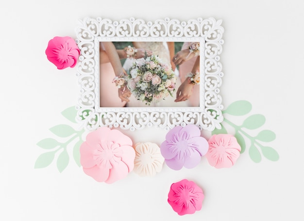 Wedding frame mock-up with paper flowers