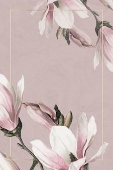 Cornice di nozze psd con bordo di magnolia su sfondo marrone