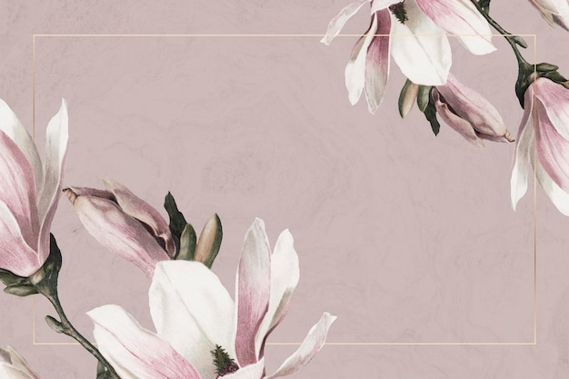 Wedding frame psd with magnolia border on brown background