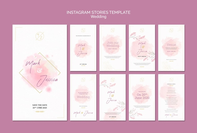 Wedding instagram stories template mock-up