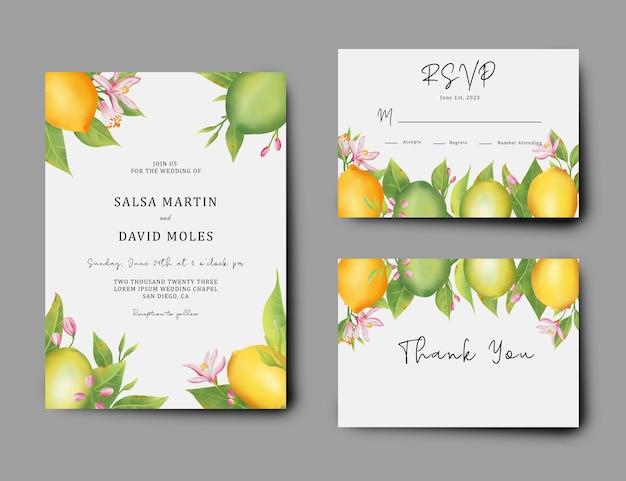 Свадебный пригласительный билет и rsvp-карта с украшением акварельной лимонной иллюстрацией
