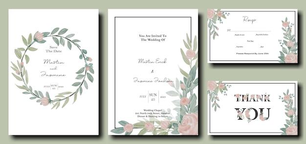 Набор свадебных пригласительных билетов с цветком розы и листьями акварельный дизайн шаблона