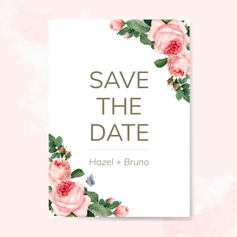 Wedding invitation card decorated with roses