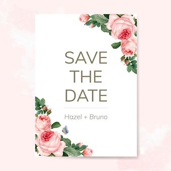 バラで飾られた結婚式の招待カード
