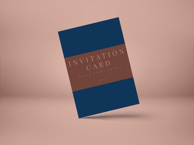 그림자 오버레이가있는 프레젠테이션 인사말 카드 또는 초대장 디자인을위한 결혼식 초대 카드 목업 디자인