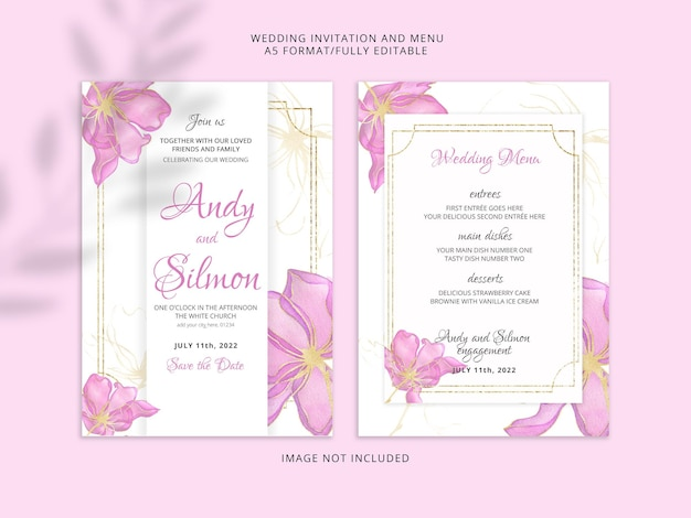 Wedding invitation card of pink watercolour flowers premium psd
