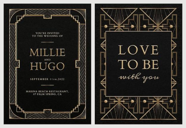 Modello di set di biglietti di invito a nozze psd con stile art deco geometrico su sfondo scuro