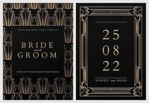 暗い背景に幾何学的なアールデコスタイルの結婚式の招待カードpsdセットテンプレート