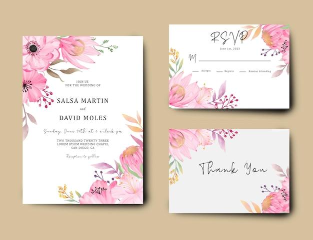 水彩ピンクの花と結婚式の招待カードセット