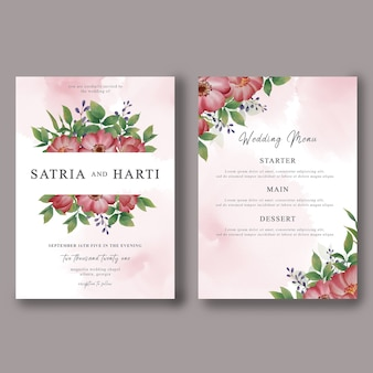 結婚式の招待カードのテンプレートと水彩花飾りの結婚式のメニューカード