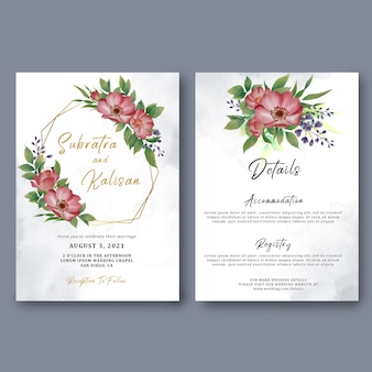 Wedding invitation card template and card details with watercolor flower decorations