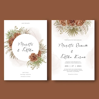 Wedding invitation card template decorated with tropical leaves and watercolor roses bouquet
