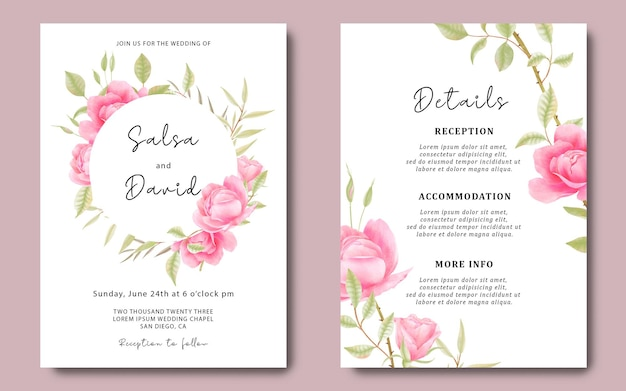 Wedding invitation card template and details card with watercolor roses