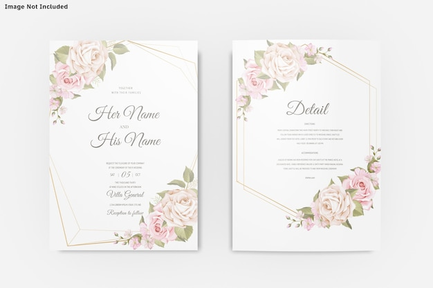 Wedding invitation card template insolated