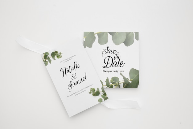 Wedding invitation card template set with green floral decoration